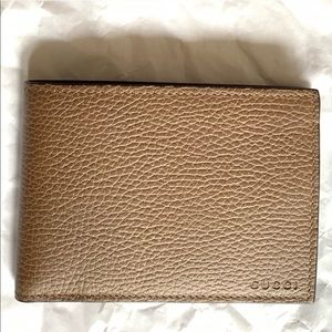 Gucci Brown Pebbled Leather Bifold Dollar Wallet